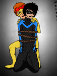 Kid Flash ties up Nightwing x3 by FanGirlNoseBleeds