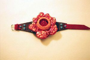 Flower Leather Cuff by DreamsCatchMe