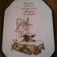 Pyrography - The Sword In The Stone by chefblackbeard