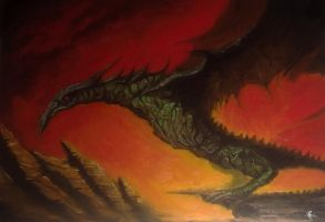Painting: Dragon in the sunset by shiprock