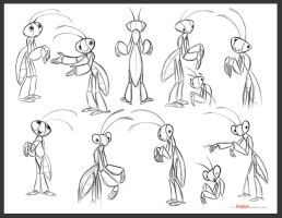 Mantis character rough concepts by chewgag