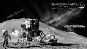 In memory of Neil Alden Armstrong (with stars bg) by WmSonee