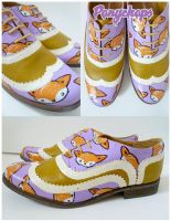Mustard and Lilac Foxy Brogues by ponychops
