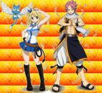 fairy tail natsu and lucy and happy by Lovino23