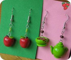 Apple and tea time earrings by merylu