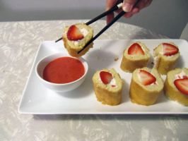 Strawberry Shortcake Sushi Strawberry Coulis by tracylopez