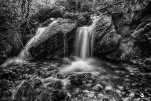 Boulders and Waterfalls BW by mjohanson