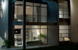 Modern Home Nightshot by sanfranguy