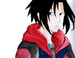 Water color Practice! .Sasuke. by JojoLemonJuice