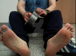 Ducttape ready, naked soles and handcuffed hands. by SneakerBoyBondage