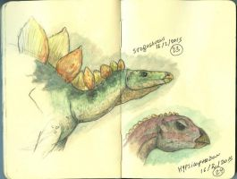 Stegosaurus and Hypsilophodon by maniraptora