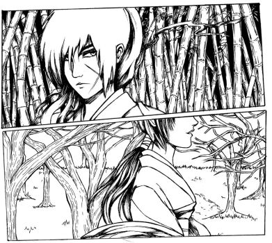 Kenshin and Tomoe [black and white version] by LeeYunna