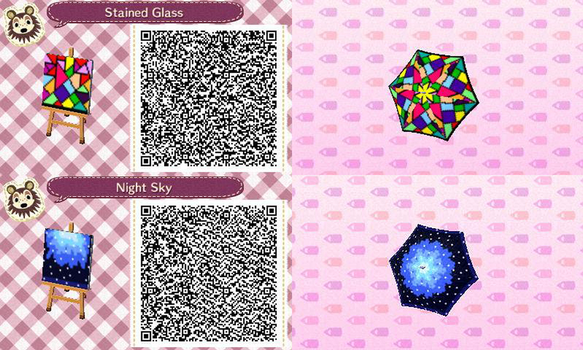 ACNL- Stain Glass and Night Sky Umbella QR Codes by ACNL-QR-CODEZ
