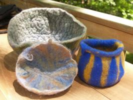 More felted vessels by feltAliza