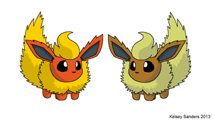 Chibi Flareon - Normal and Shiny by KelseyEdward