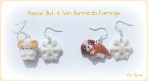 Kawaii Yeti and San Bernardo Earrings by Bojo-Bijoux