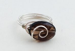 Size 6 Smokey Quartz Wire-Wrapped Ring by FaerieForgeDesign