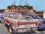 Redneck 1978 Ford F250 At Bass Pro Shops (Painting by FastLaneIllustration