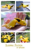 Sleeping Jolteon Sculpture by BeeZee-Art