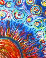 Sun Painting - Acrylic Painting - Bright colors by lyssagal