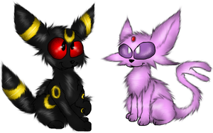Chibi Umbreon and Espeon by PlagueDogs123