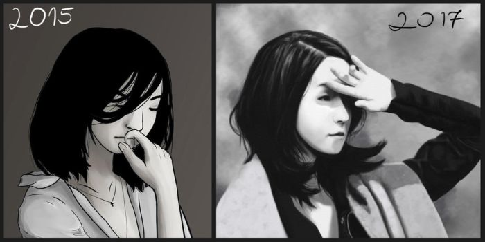 Draw it Again- Realistic portrait before and after by Kanimir