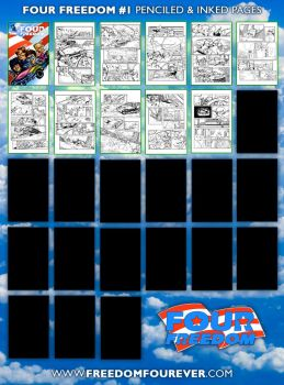 FOUR FREEDOM Issue 1 inking progress by sonicblaster59