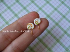 Lollipop Earrings 7 - White, Orange and Green by FunkadelicPsychoFish