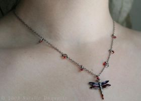 Red Dragonfly Necklace by fetishfaerie