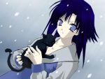 Hinata with a kitten in a snow by desz19
