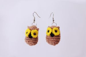 owl earrings/ sowki by MarzenkaMarzenka