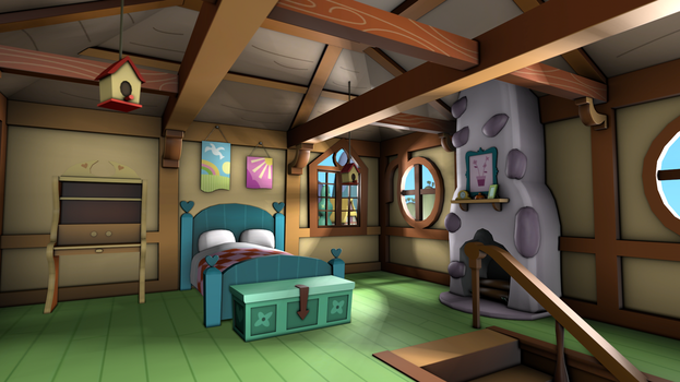 Fluttershy's Cottage - Bedroom by discopears