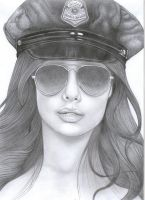 Police woman by costage