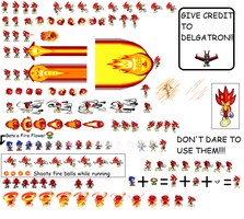 Fleetway Fire Sonic Sprites by DELGATRON