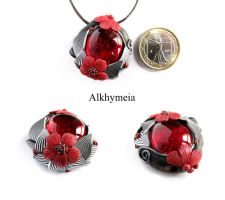 Dew Drop in Red and Black 1 by Alkhymeia