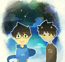 homestuck - star gazing - karkat and john by LaWeyD