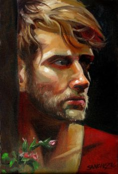 Colby Keller with Roses by FineRomanArt