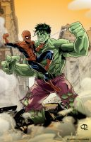 Spider-Man vs. Hulk by Tloessy