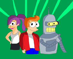Futurama - Fry, Leela and Bender by TXToonGuy1037