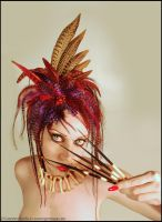 Grizzly and Pheasant feather headpiece by Genevieve-Amelia
