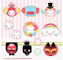 SUGARBOTDEVIL sticker sheet no. 1 by SUGARBOTDEVIL