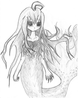 Mermaid in Black and white by crimsonblossom42