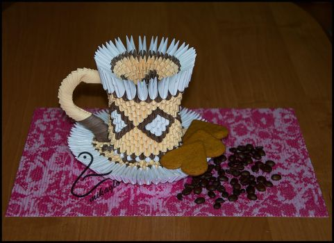 Origami 3d mikaglo coffee cup by Majka16g