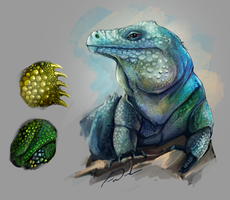 Blue iguana color study by charfade
