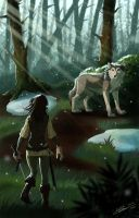 Reunion of Arya and Nymeria by ClaireLyxa