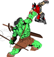 Skaar Vs Daken by ruga-rell