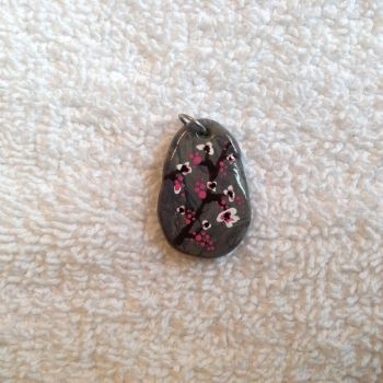 Long grey Faux Stone w/ Cherry Blossoms by Gold-Heart-Clay