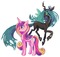 Cadence and Chrysalis by griffsnuff