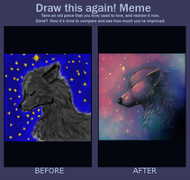 Draw this again MEME: Wolf in Moonshine by SmidgeFish