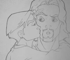 Surprise Kiss LINEART by AlyssaKing